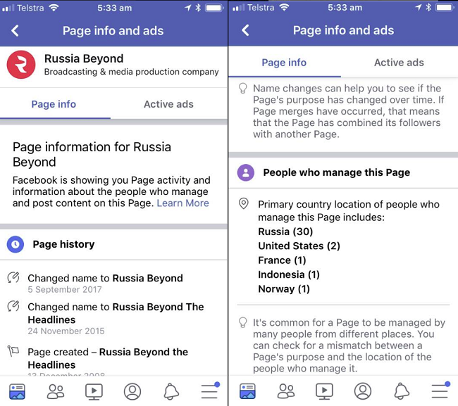 An example of Facebook's Page insights