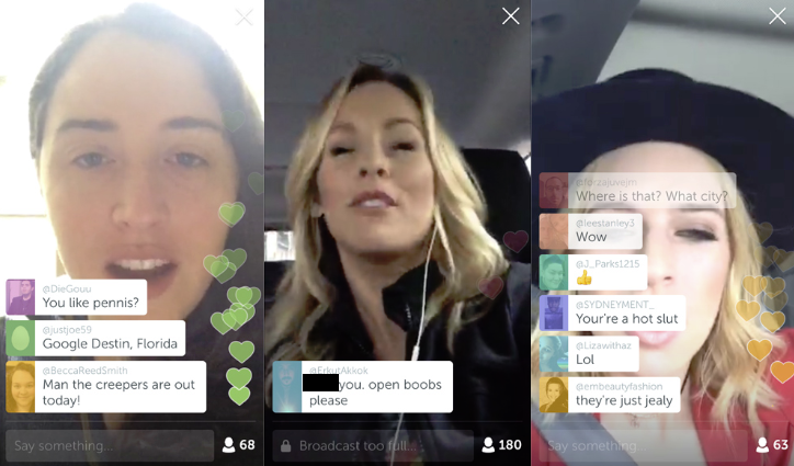 Examples of inappropriate Periscope comments