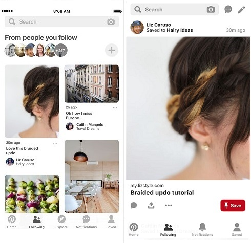 Pinterest Following tab examples