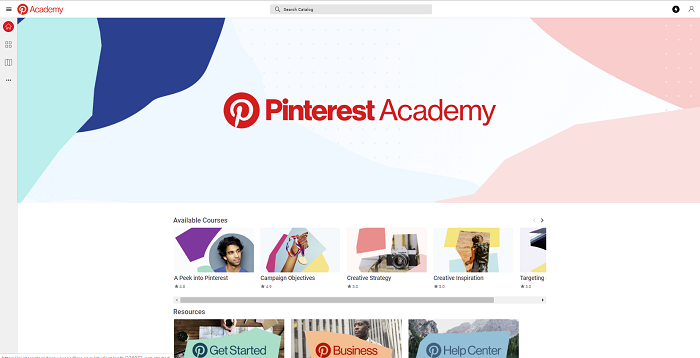 Pinterest Academy home screen