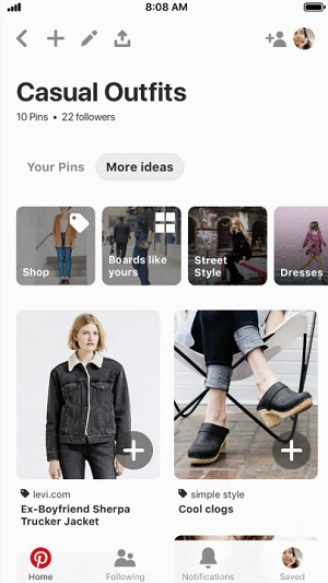 Pinterest 'More ideas' option