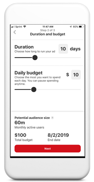 Pinterest mobile ad stats