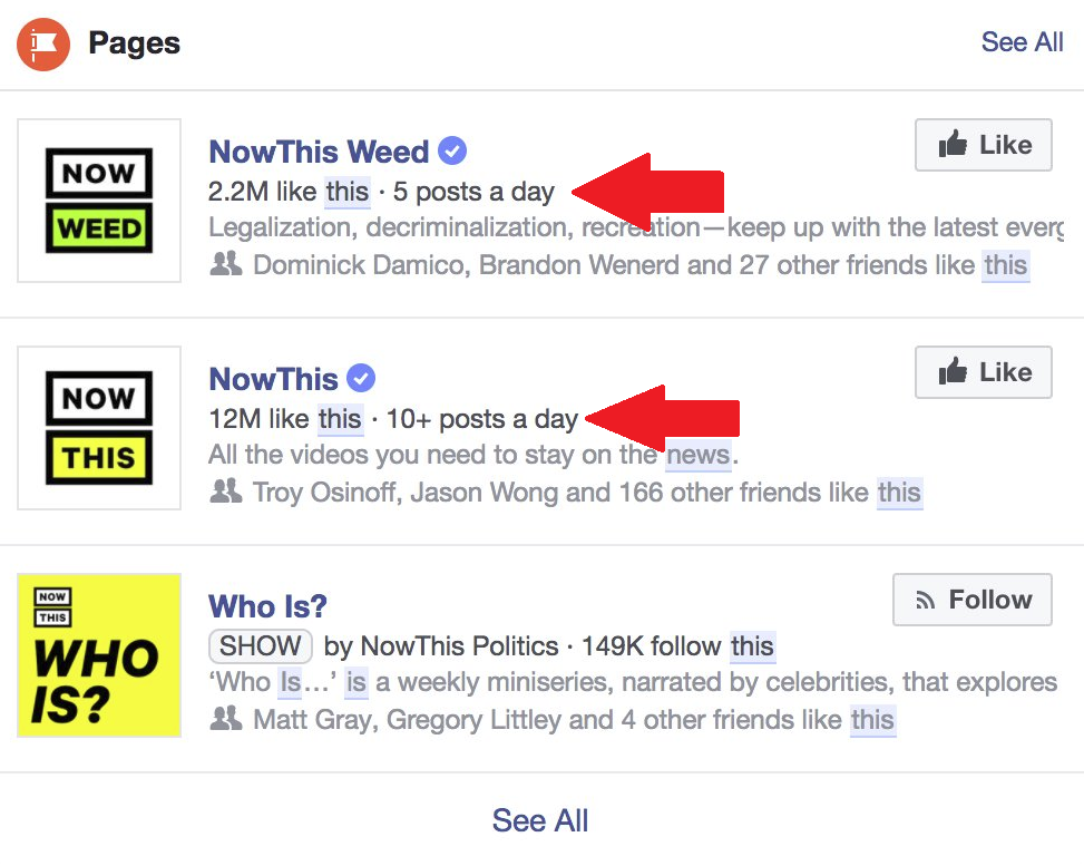 Facebook's Now Listing Page Posting Frequency in Search Results | Social Media Today
