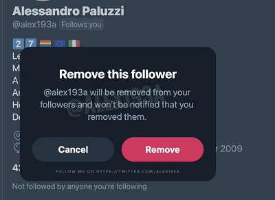 Twitter remove followers in testing