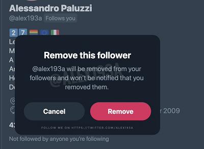 Twitter remove follower