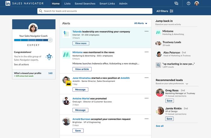 LinkedIn Sales Navigator alerts