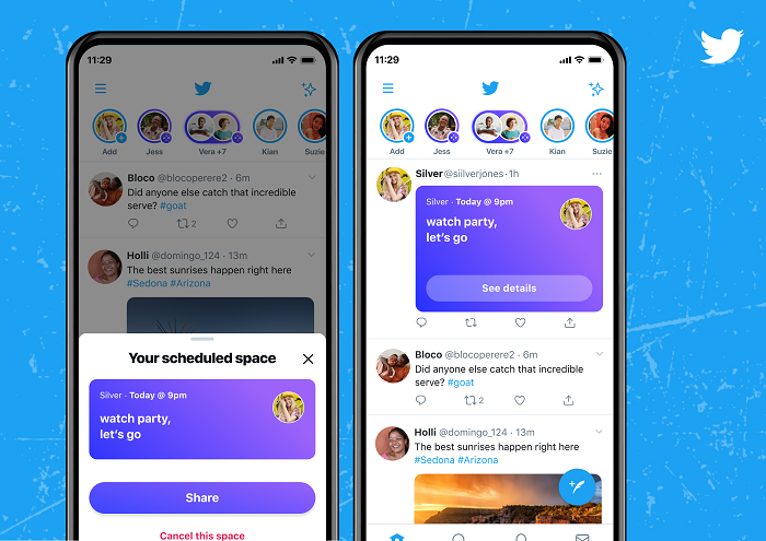 Twitter Spaces scheduling