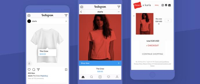 Screenshots of Instagram's integration with Shopify