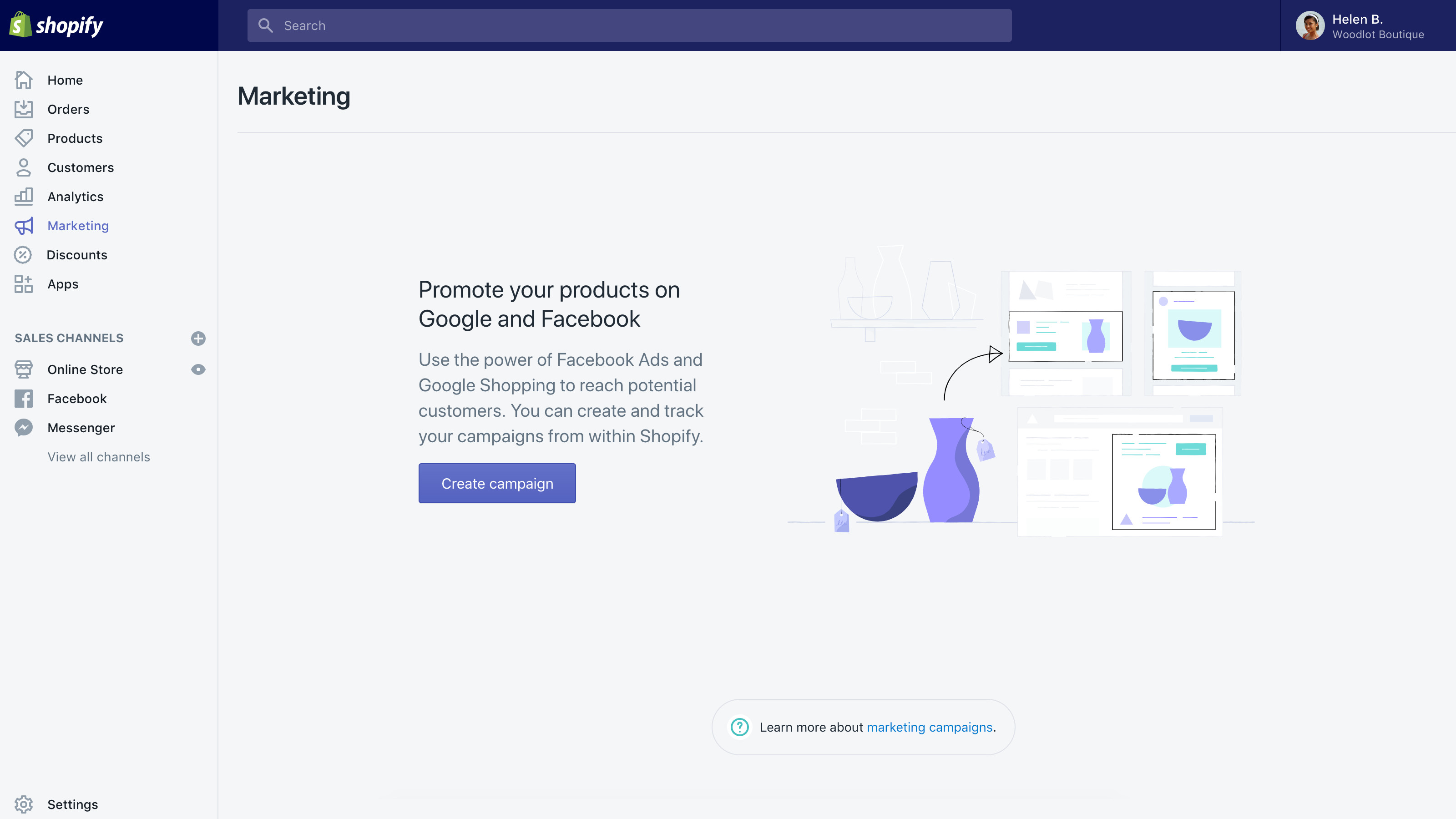 Shopify's Marketing section