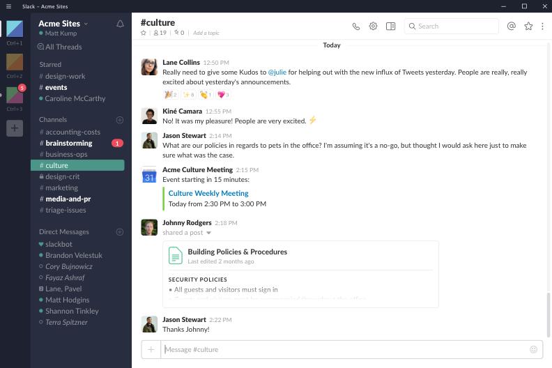 لقطة شاشة Slack