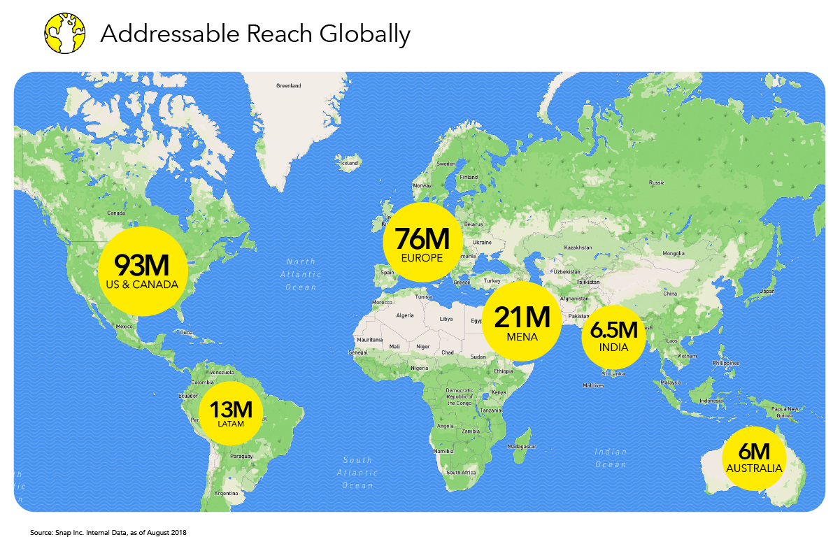 Snap 'Addressable Reach' map