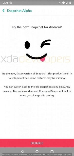 Snapchat's 'Alpha' version