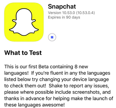 Snapchat language beta test