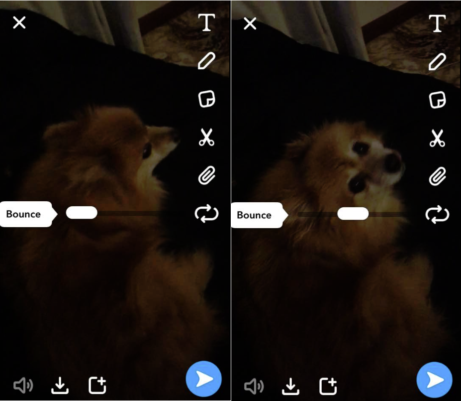Screenshots of Snapchat's 'Bounce' tool