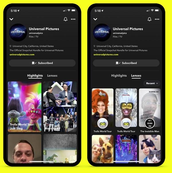 Snapchat brand profiles