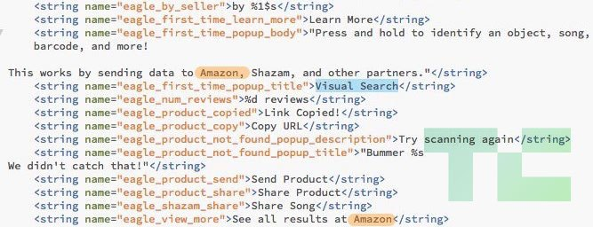 Snapchat code showing Amazon listings