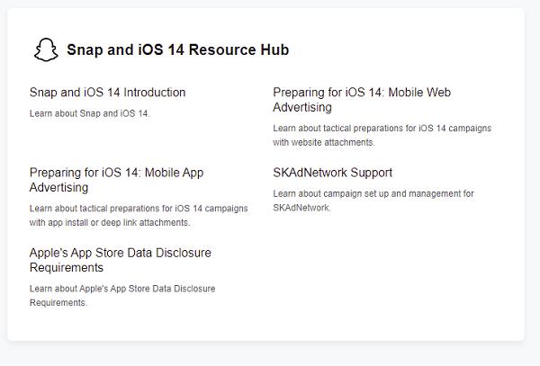 Snapchat iOS 14 hub