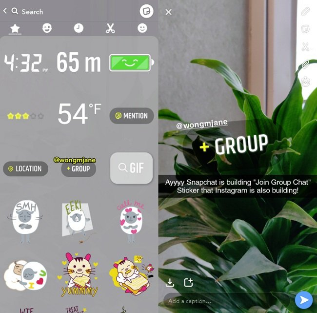 Snapchat 'Join Group Chat' sticker example