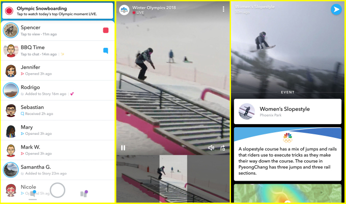 Snapchat Will Live-Stream Winter Olympics Content in New Agreement with NBC