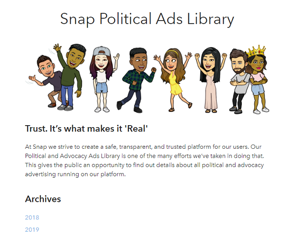 Snapchat political ads library