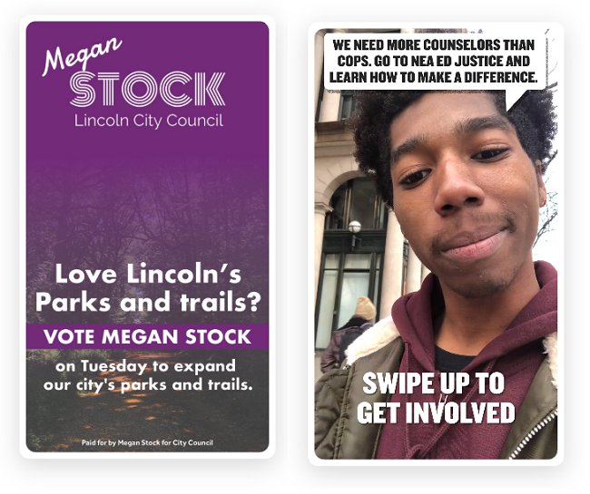 Snapchat political ads examples