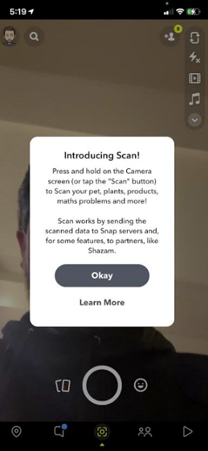 Snapchat Scan update