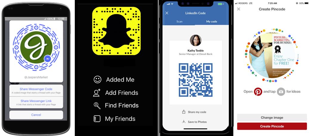 Examples of social platform QR codes
