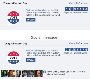 A Facebook voting awareness message