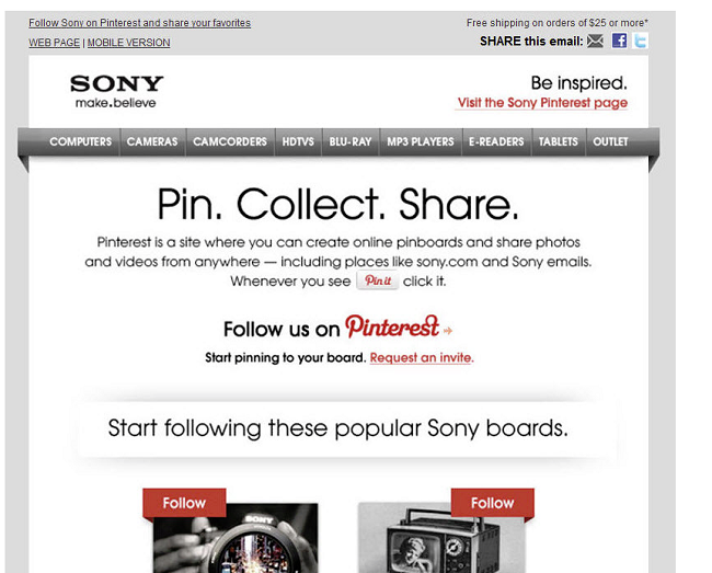 An example of how Sony incorporates Pins into their email marketing