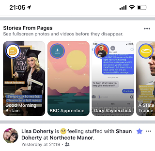 Facebook Stories from Pages test