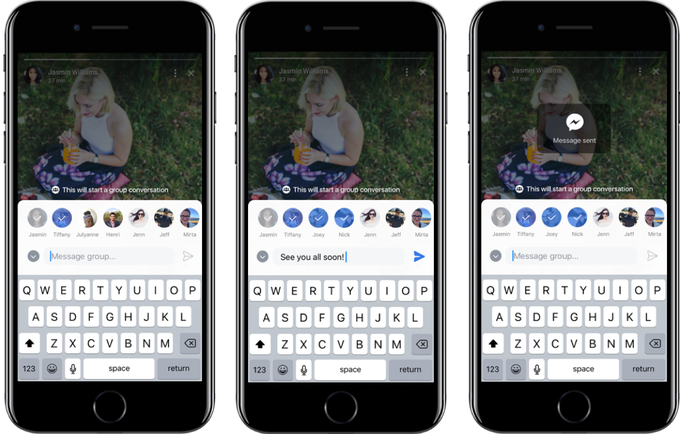 Facebook Stories group discussion share