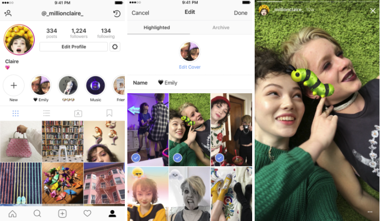 Instagram Stories Highlights screenshots