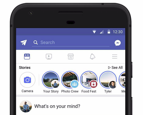Facebook Stories in the main feed