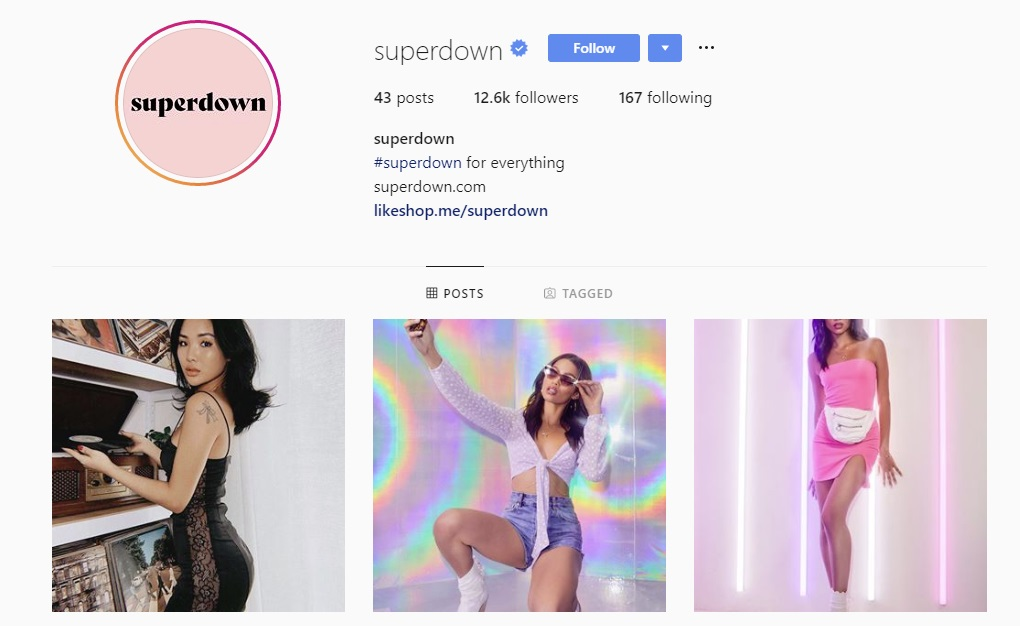 Superdown Instagram profile