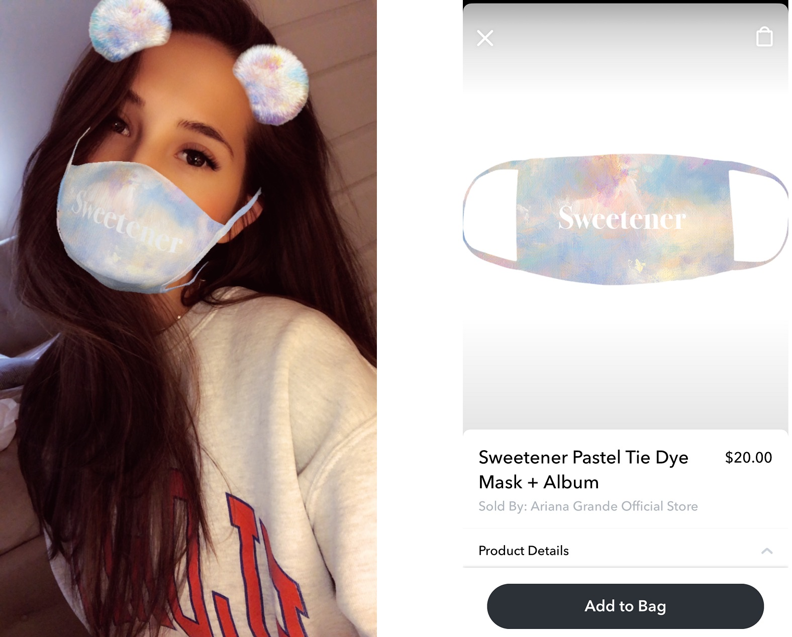 Ariana Grande Snapchat Lens and products