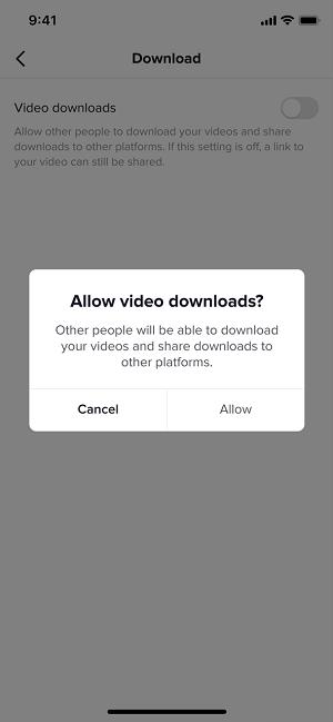 TikTok downloads prompt