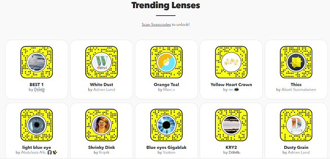 Trending Lenses on Snapchat