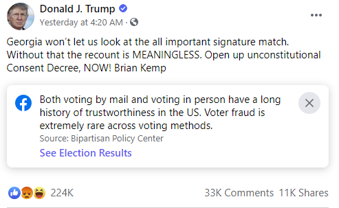 Trump Facebook post example