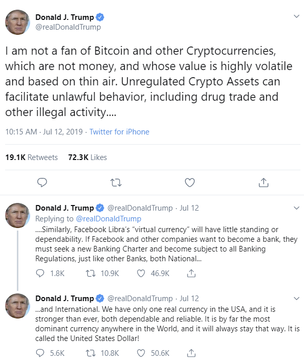 Trump's tweets on Facebook's Libra