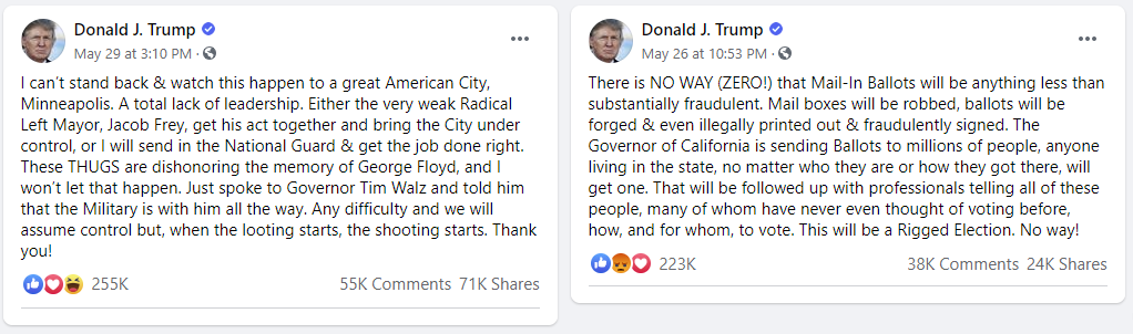 Facebook posts from Trump
