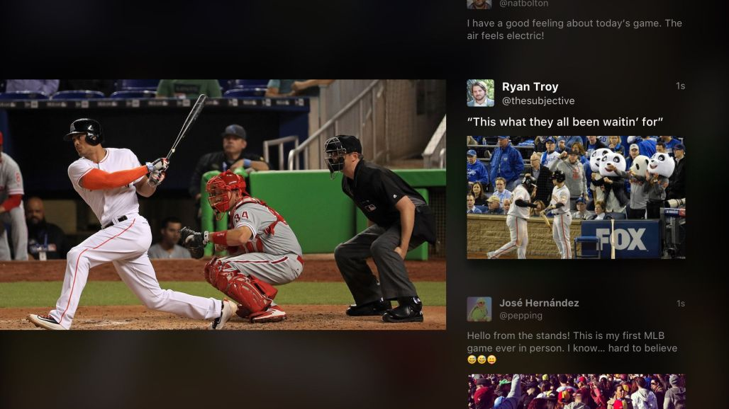 Twitter live sports/tweets integration example