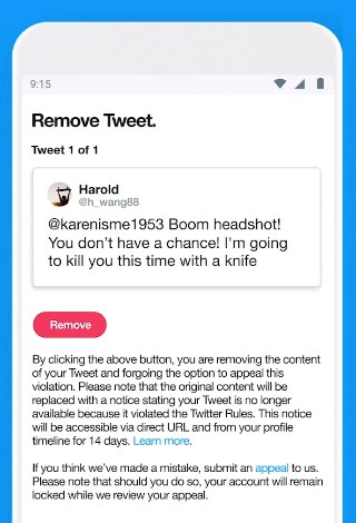 Twitter remove tweet screen