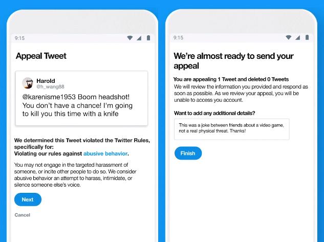 Twitter appeal process