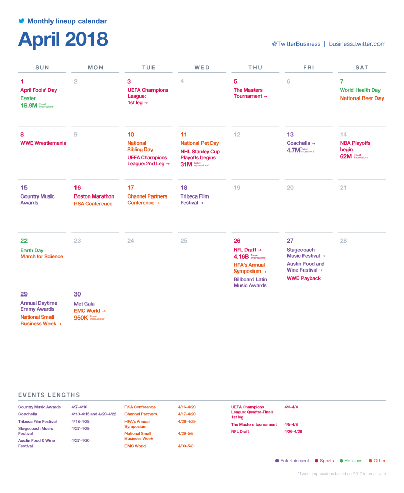 Twitter Releases Major Events Calendar for April to Assist with Strategic Planning | Social Media Today