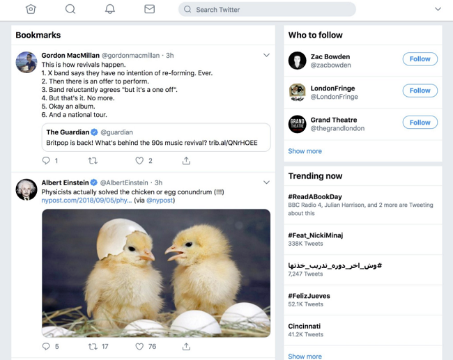 Twitter Bookmarks on the web