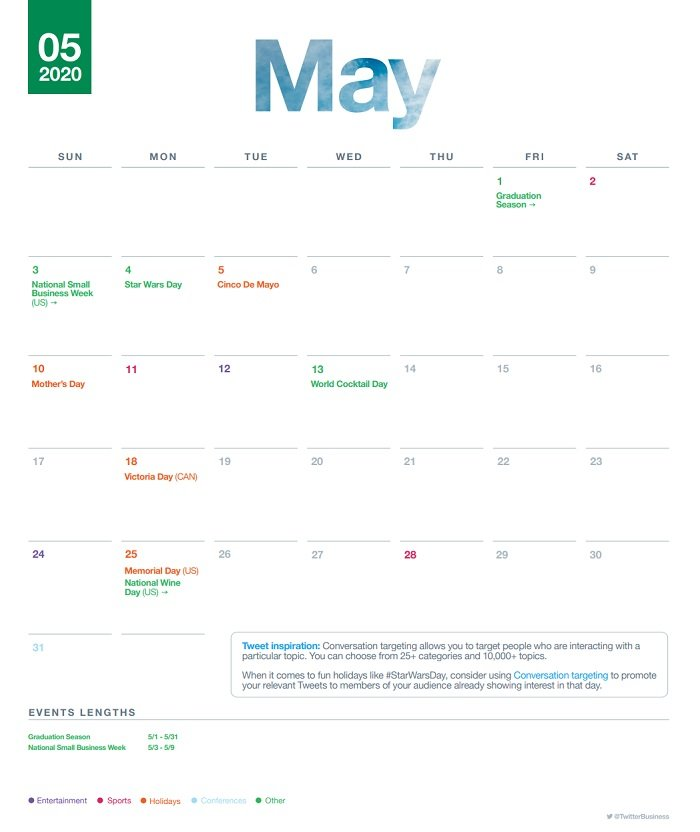 Twitter events calendar May 2020