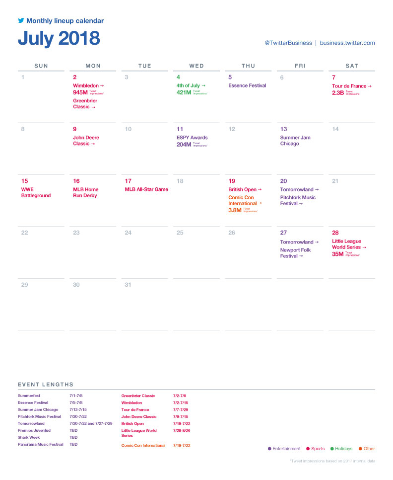 Twitter major events calendar - July 2018