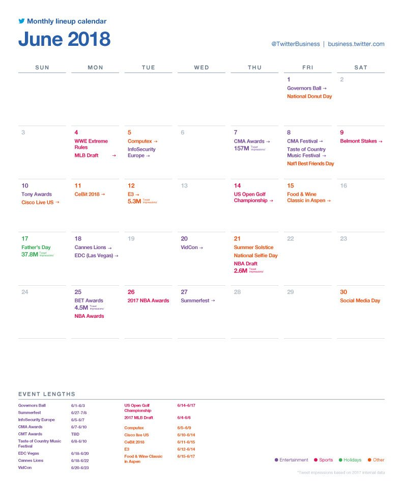 Twitter Releases Major Events Calendar for June to Help with Strategic Planning