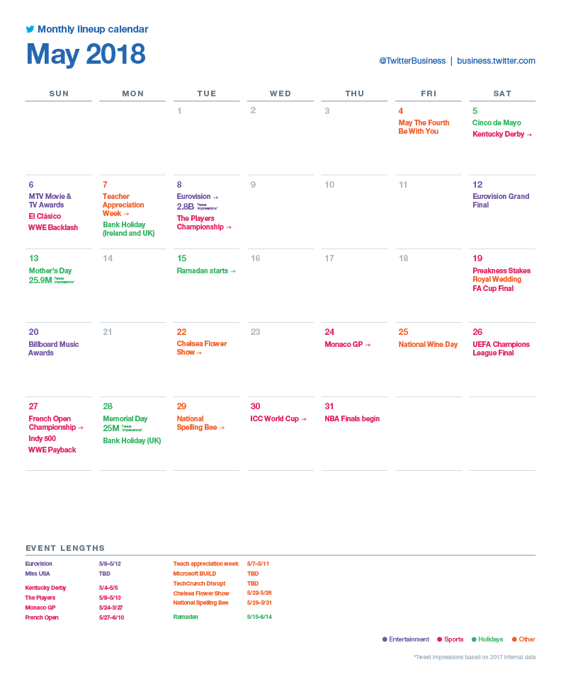 Twitter Releases Major Events Calendar for May to Assist with Strategic Planning | Social Media Today