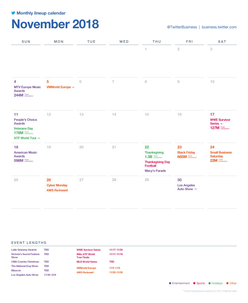 Twitter major events calendar - November 2018